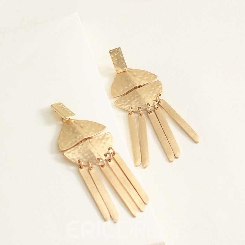 Ericdress Golden Plain Birthday Earrings