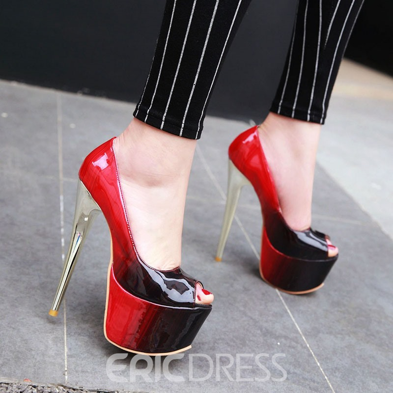 Ericdress Color Block Platform Stiletto Heel Slip-On Women's Prom Shoes