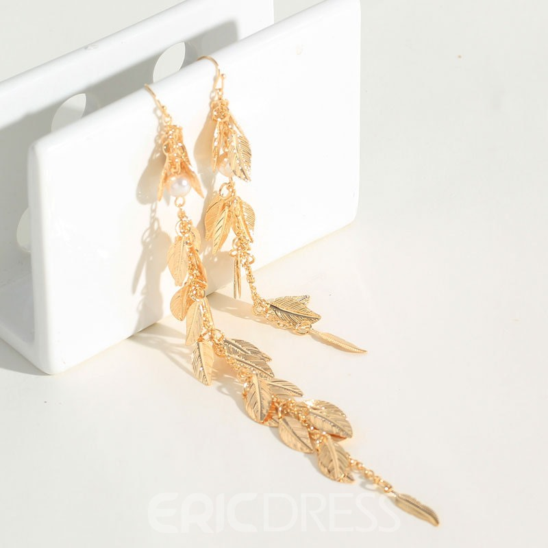 Ericdress Alloy Leaf Pear Earrings