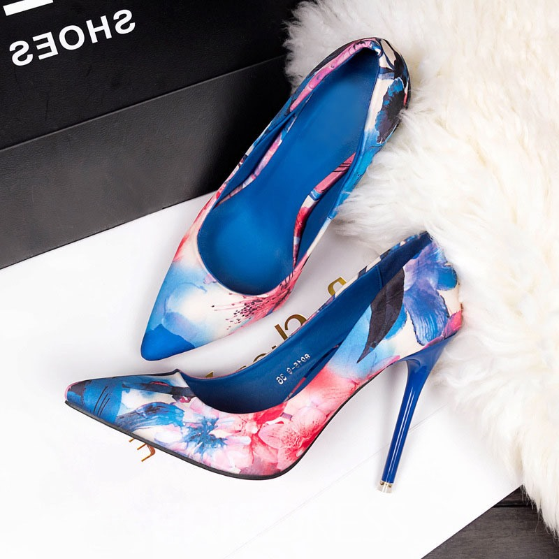 Ericdress Floral Stiletto Heel Pointed Toe Slip-On Women's Pumps