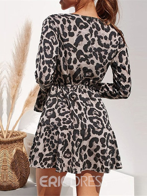 Ericdress Print V-Neck Above Knee Mid Waist Fashion A-Line Dress