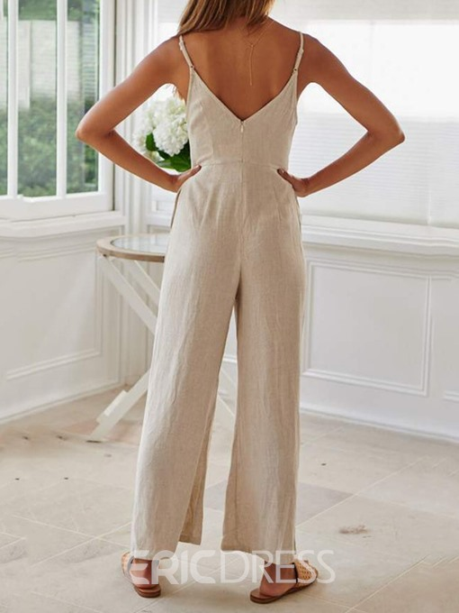 Ericdress Lace-Up Plain Strap Loose Jumpsuit