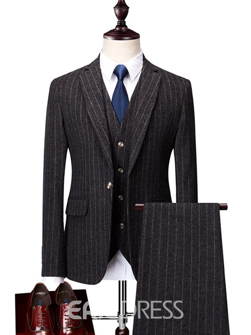 Ericdress Stripe Casual Button Mens Dress Suit