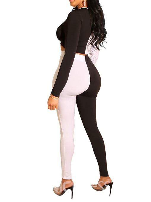 Ericdress Color Block Sexy Skinny Sweet T-Shirt And Pants Two Piece Sets
