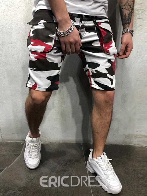 Ericdress Zipper Straight Camouflage Zipper Mens Shorts