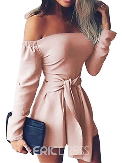 Ericdress Lace-Up Off Shoulder Plain Loose Jumpsuit