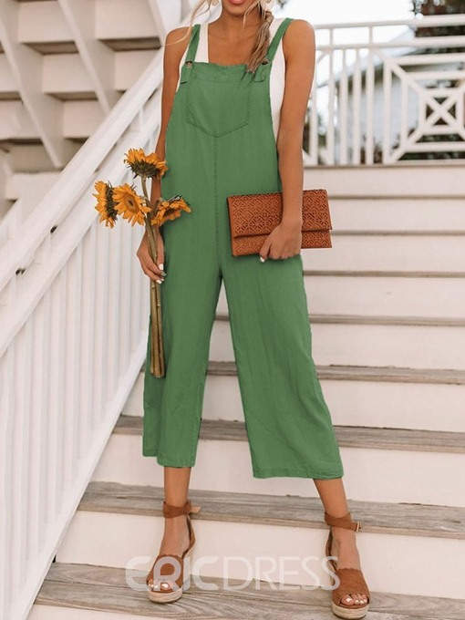 Ericdress Plain Suspenders Wide Legs Loose Jumpsuit