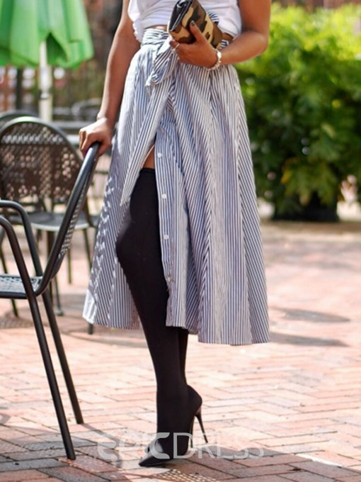Ericdress Stripe Asymmetrical Bowknot Mid-Calf Skirt