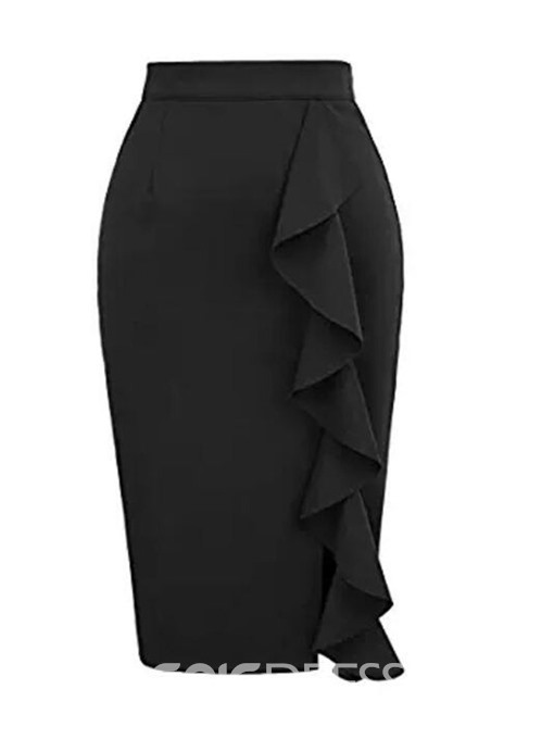 Ericdress Bodycon Knee-Length Plain Slim Skirt