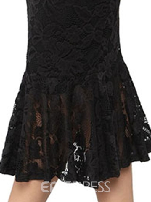 Ericdress Mid-Calf Lace Off Shoulder Pullover Mermaid Dress