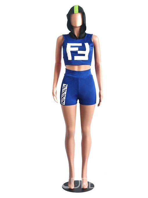 Ericdress Print Color Block Skinny Vest And Shorts Two Piece Sets