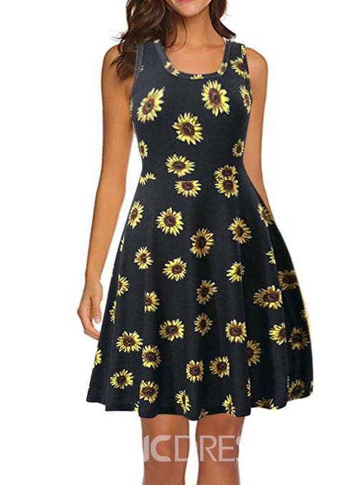 Ericdress Round Neck Sleeveless Print Pullover A-Line Dress
