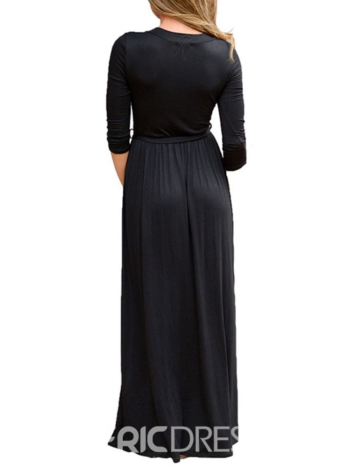 Ericdress V-Neck Floor-LengthCasual Regular Plain Dress