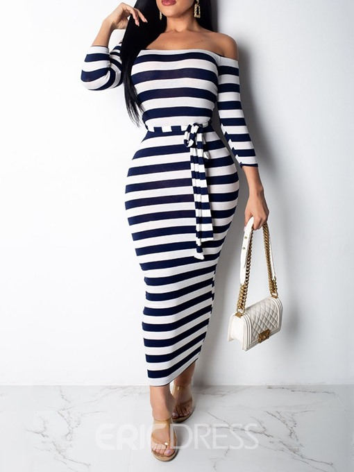 Ericdress Off Shoulder Print Three-Quarter Sleeve Fashion Stripe Dress