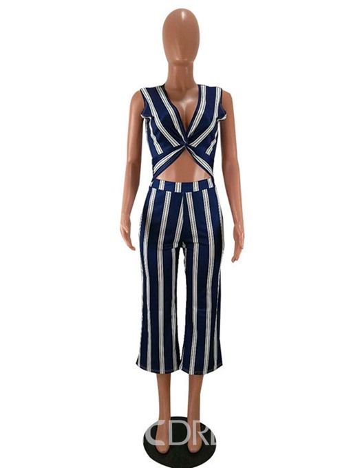 Ericdress Print Stripe Wide Legs Slim Vest And Mid-Calf Pants Two Piece Sets