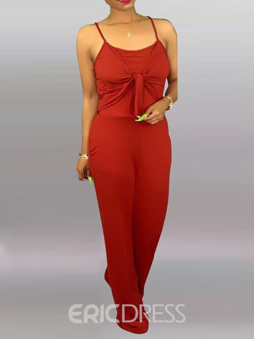 Ericdress Strap Plain Loose High Waist Jumpsuit