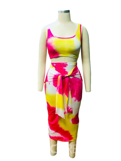 Ericdress Print Bodycon Strap Skinny African Fashion Vest And Skirt Two Piece Sets