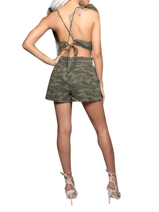 Ericdress Ruffles Camouflage Loose Romper