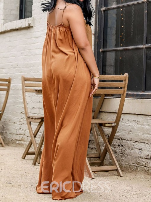 Ericdress Plus-Size Plain Strap High Waist Loose Jumpsuit