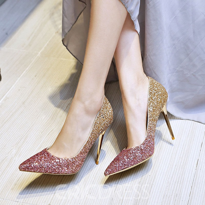 Ericdress Sequin Pointed Toe Slip-On Stiletto Heel Women's Prom Shoes