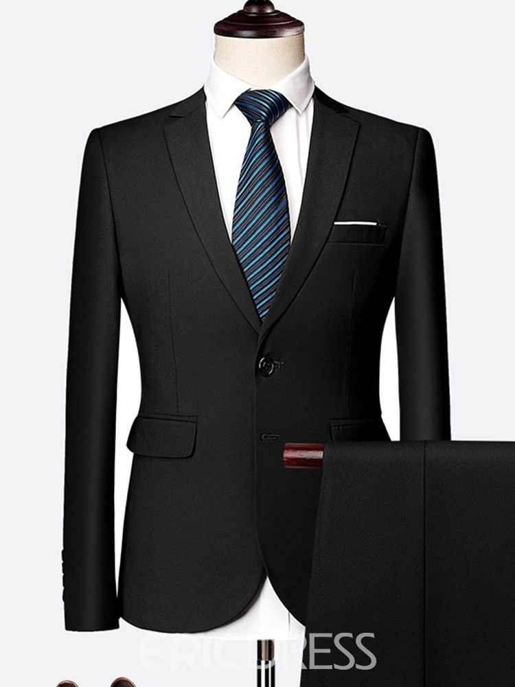 Ericdress Pants Single-Breasted Pocket Mens Dress Suit