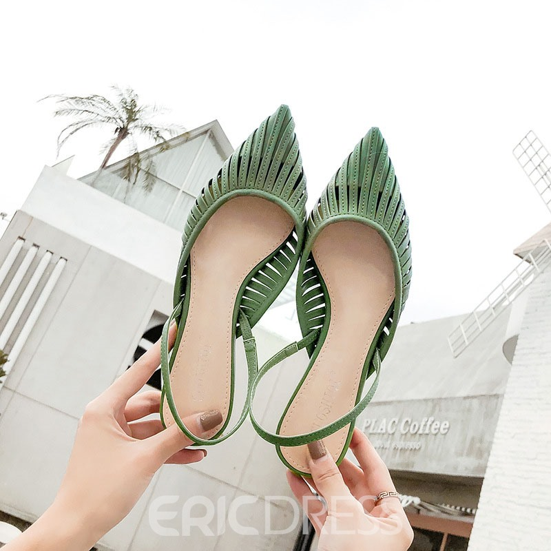 Ericdress PU Pointed Toe Slingback Strap Women's Flat Sandals