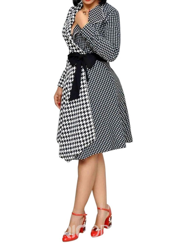 Ericdress Notched Lapel Houndstooth Asymmetric Color Block Dress