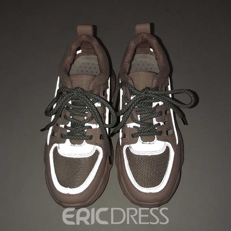 Ericdress PU Round Toe Lace-Up Color Block Women's Sneakers