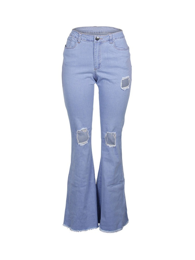 Ericdress Plain Destoryed Zipper Slim Flare Jeans