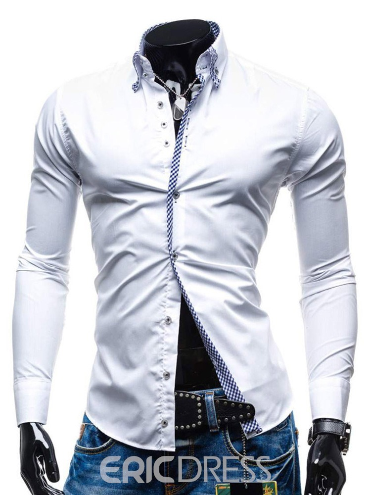 Ericdress Color Block Button Mens Slim Shirt