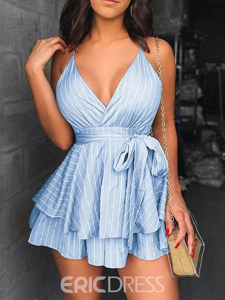 Ericdress Backless V-Neck Above Knee A-Line Date Night Dress