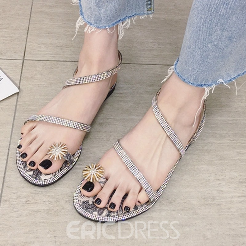 Ericdress Color Block Thong Strappy Women's Flat Sandals