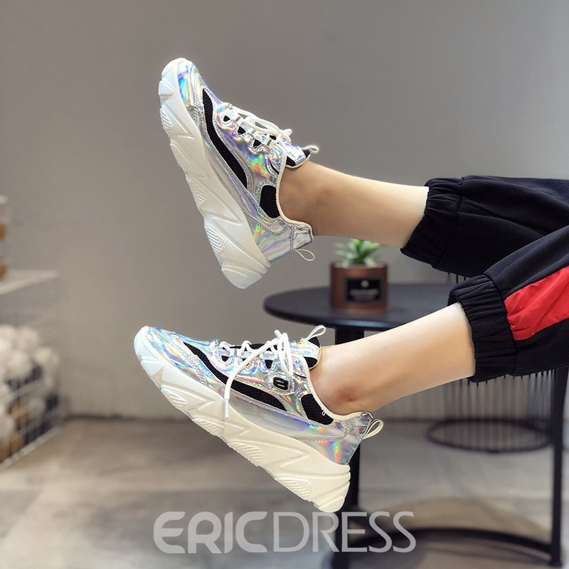 Ericdress PU Color Block Round Toe Lace-Up Women's Sneakers