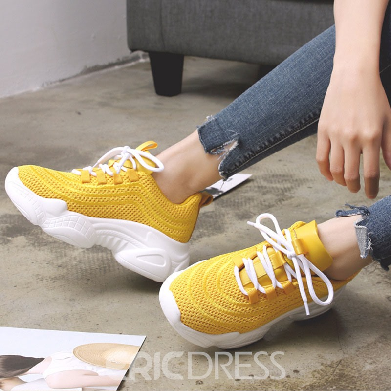 Ericdress Plain Lace-Up Round Toe Low-Cut Upper Women's Sneakers