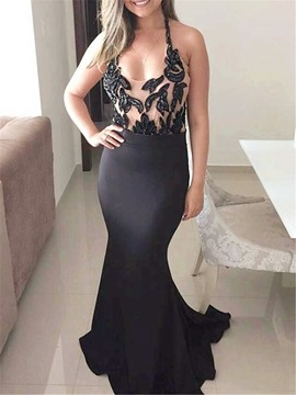 Ericdress Halter Beading Black Mermaid Evening Dress 2019