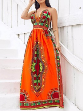 Ericdress African Style V-Neck Sleeveless Print Dress