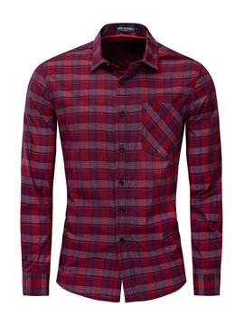 Ericdress Plaid Casual Lapel Mens Slim Shirt