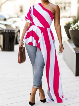 Ericdress Asymmetric Stripe Mid-Length Summer Blouse