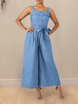 Ericdress Plain Button Wide Legs Loose Jumpsuit