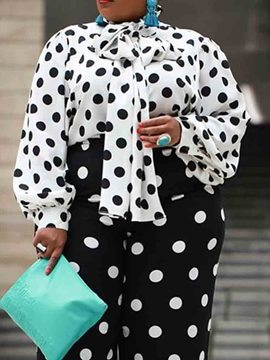 Ericdress Lace-Up Lantern Sleeve Polka Dots Plus Size Blouse