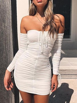 Ericdress Off Shoulder Pleated Above Knee Plain Pullover Dress
