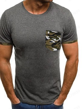 Ericdress Casual Pocket Camouflage Short Sleeve Mens Slim T-shirt