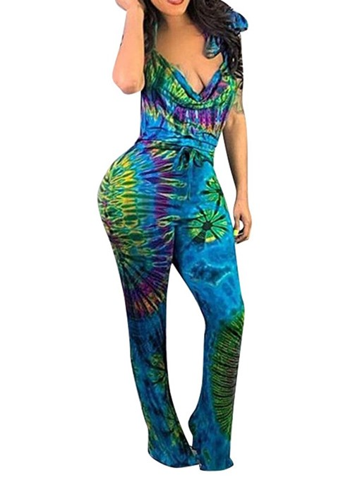 Ericdress Print Slim Lace-Up African Fashion Jumpsuit