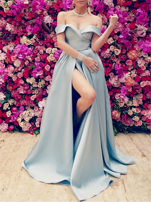Ericdress Cap Sleeves A-Line Evening Dress 2019 With Slit