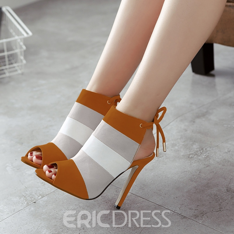 Ericdress Color Block Peep Toe Stiletto Heel Pumps
