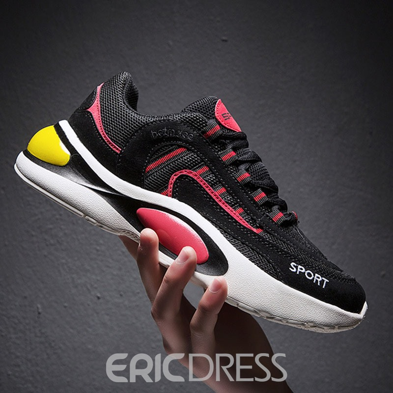 EricdressColor Block Lace-Up Men's Mesh Sneakers