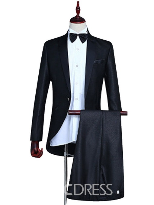 Ericdress Button Plain Blazer Mens Dress Suit