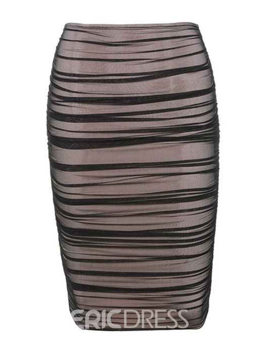 Ericdress Plain Pleated Knee-Length Bodycon Skirt