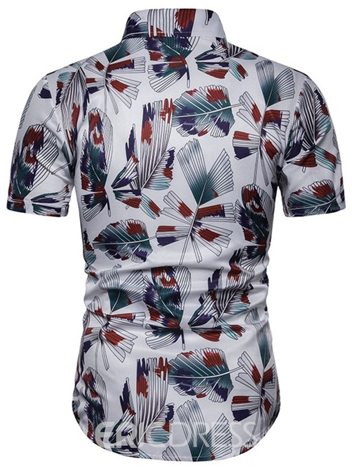 Ericdress Casual Color Block Print Single-Breasted Mens Slim Shirt