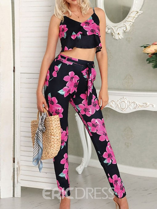 Ericdress Floral Ankle Length Pants Pullover V-Neck Two Piece Sets